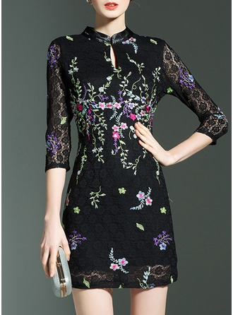 Lace With Embroidery Above Knee Dress