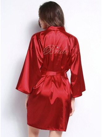 Personalized Charmeuse Bridesmaid Glitter Print Robes
