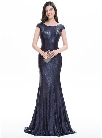 Trumpet/Mermaid Scoop Neck Sweep Train Sequined Evening Dress