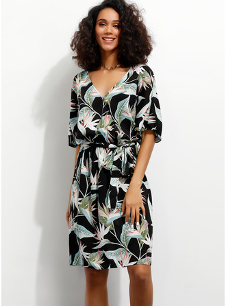Floral Print A-line V-Neck 1/2 Sleeves Midi Casual Vacation Wrap Dresses