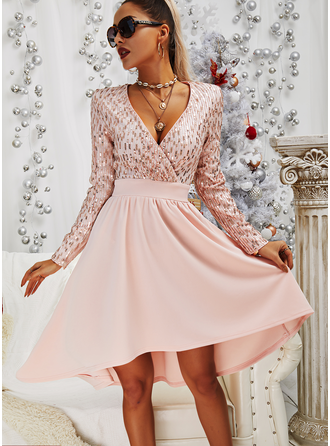Sequins A-line V-Neck Long Sleeves Midi Elegant Party Skater Dresses