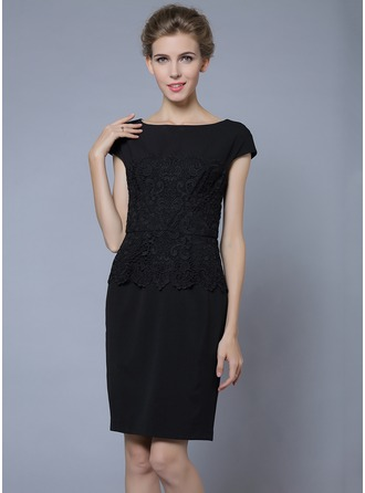Polyester/Lace With Solid Color Above Knee Dress