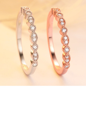 Sterling Silver Cubic Zirconia Vintage Round Stackable Rings