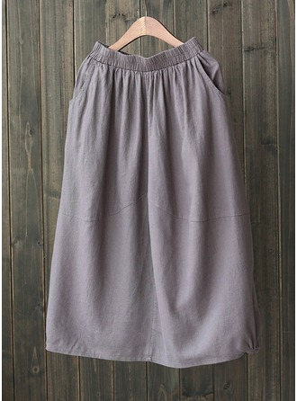 Cotton Linen Plain Above Knee A-Line Skirts