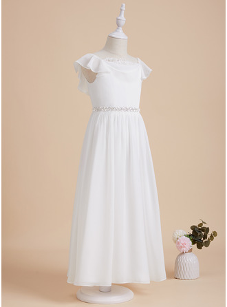 Ankle-length Flower Girl Dress - Chiffon Lace Short Sleeves Scoop Neck With Beading