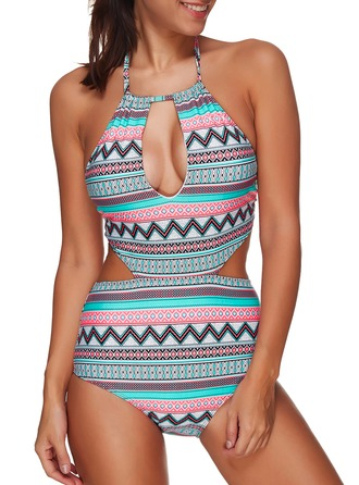 Sexy Colorful Chinlon Spandex One-piece Swimsuit