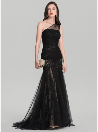 Trumpet/Mermaid One-Shoulder Sweep Train Tulle Evening Dress With Ruffle