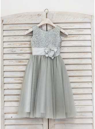 Tea-length Flower Girl Dress - Tulle Sequined Sleeveless Scoop Neck