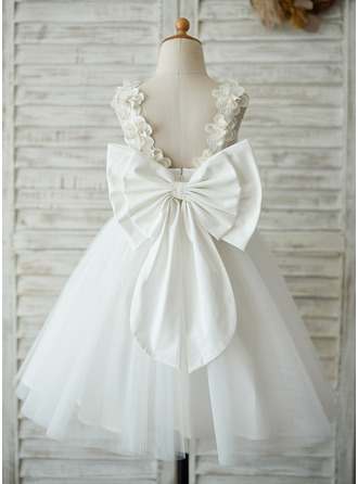 A-Line/Princess Knee-length Flower Girl Dress - Satin Tulle Lace Sleeveless With V Back