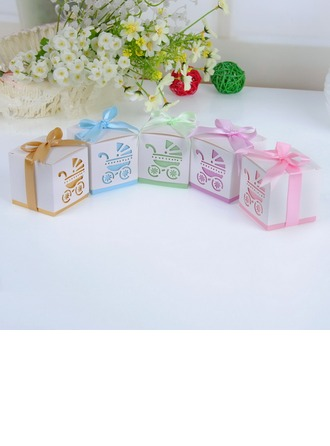 Baby's Day Out Cubic Favor Boxes With Ribbons