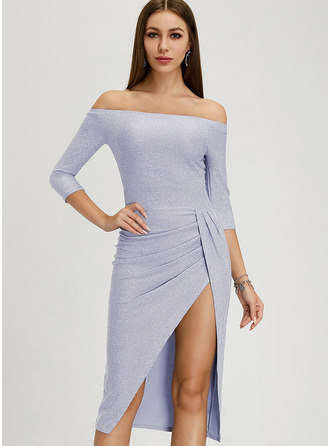 Off the Shoulder 3/4 Sleeves Midi Dresses