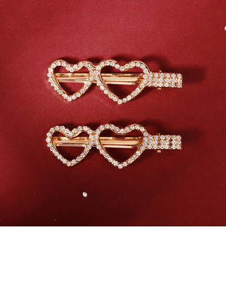 Ladies Beautiful Rhinestone/Alloy Hairpins With Rhinestone (Set of 2)