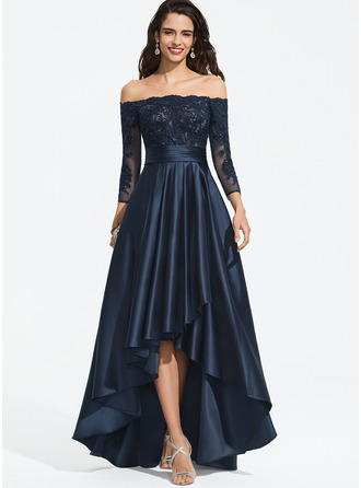 Off-the-Shoulder Asymmetrical Satin Prom Dresses