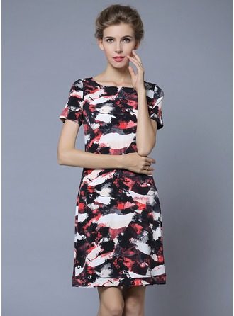 Polyester/Knitting With Print Above Knee Dress