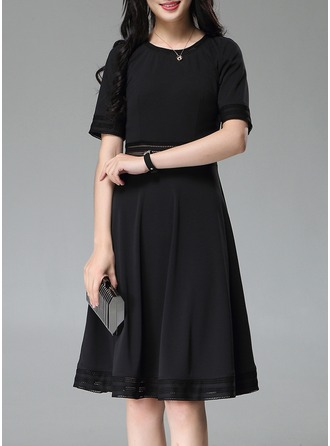 Polyester With Stitching Above Knee Dress