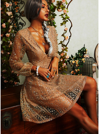 Sequins A-line V-Neck Long Sleeves Midi Party Vacation Skater Dresses