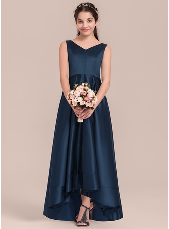 V-neck Asymmetrical Satin Junior Bridesmaid Dress