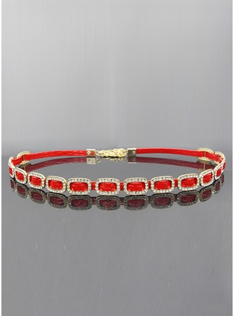 Fashional Leatherette Belt With Rhinestones