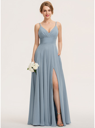 V-neck Floor-Length Chiffon Bridesmaid Dress With Ruffle Pockets