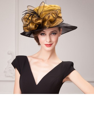 Dames Beau Organza avec Feather Chapeaux de type fascinator