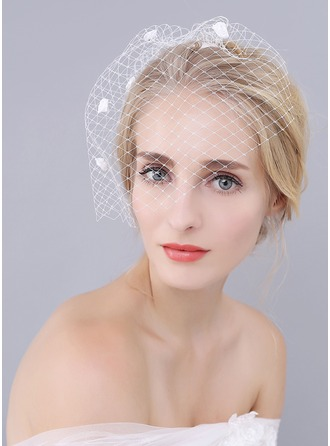 One-tier Birdcage Veils With Satin Flower