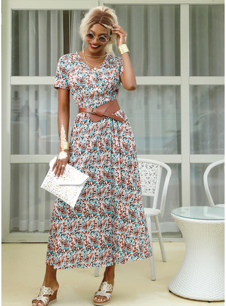 Print V-Neck Short Sleeves Maxi Dresses