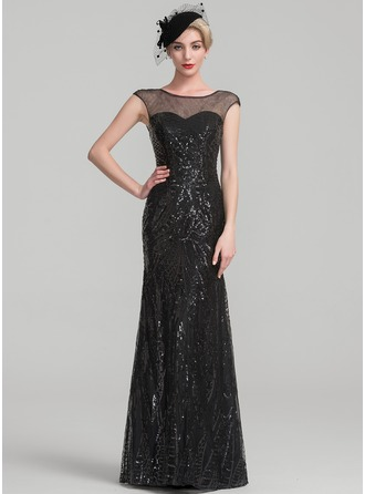 Trumpet/Mermaid Scoop Neck Floor-Length Sequined Evening Dress