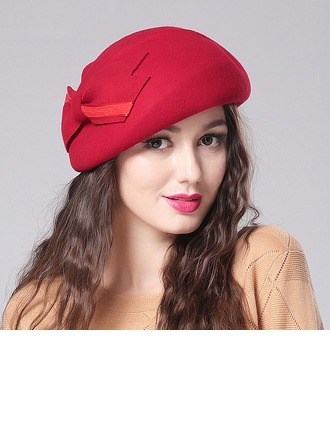 Ladies' Beautiful Wool With Bowknot Beret Hat