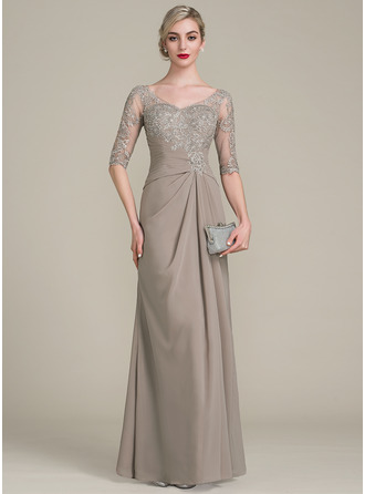 A-Line/Princess V-neck Floor-Length Chiffon Lace Mother of the Bride ...