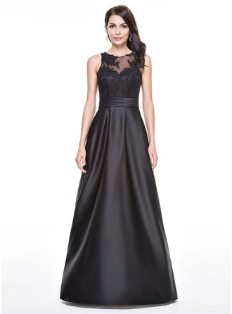 A-Line/Princess Scoop Neck Floor-Length Satin Evening Dress With Ruffle Beading Appliques Lace Sequins