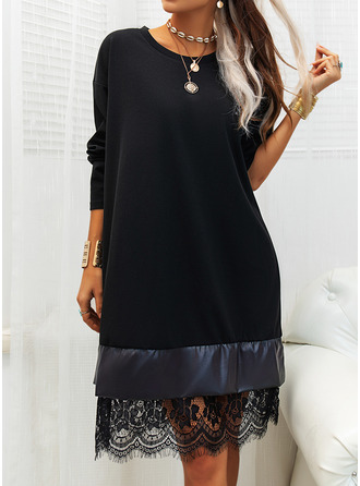 Lace Solid Shift Round Neck Long Sleeves Midi Elegant Little Black Tunic Dresses