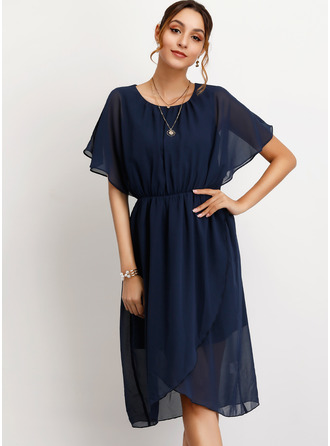 Chiffon With Crumple/Solid Knee Length Dress