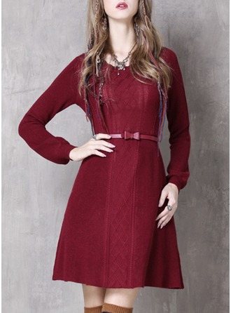 Knitting With Print Above Knee Dress