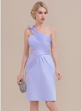 Sheath/Column One-Shoulder Knee-Length Satin Cocktail Dress With Ruffle Bow(s)