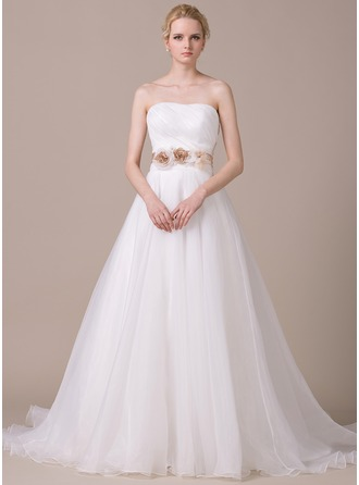 Ball-Gown Sweetheart Court Train Organza Wedding Dress With Ruffle Sash Beading Flower(s) Sequins Bow(s)