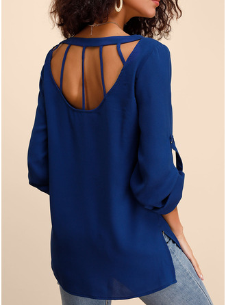 Long Sleeves Chiffon Round Neck Blouses