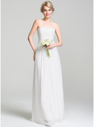 A-Line/Princess Sweetheart Floor-Length Chiffon Wedding Dress With Ruffle