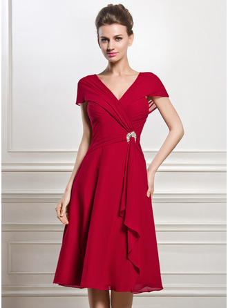 V-neck Knee-Length Chiffon Mother of the Bride Dress With Beading Sequins Cascading Ruffles