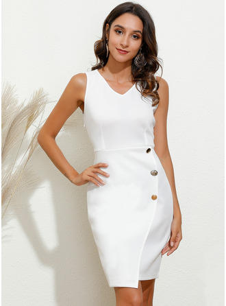 Solid Bodycon V-Neck Sleeveless Midi Elegant Dresses