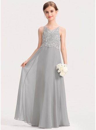 V-neck Floor-Length Chiffon Lace Junior Bridesmaid Dress