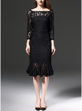 Cotton/Lace With Stitching/Knitting Knee Length Dress