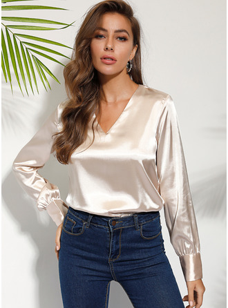 Long Sleeves Cotton Cotton Blends Polyester V Neck Blouses
