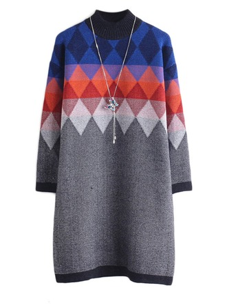 Cotton Blends Round Neck Geometric Print Sweater