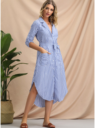 Polyester/Cotton With Button/Print Asymmetrical Dress