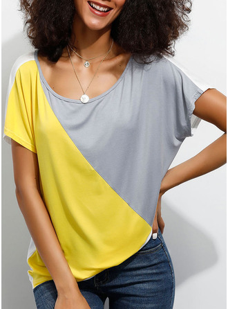 Short Sleeves Viscose Round Neck Knit Blouses