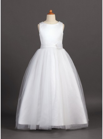 A-Line/Princess Scoop Neck Floor-Length Tulle Junior Bridesmaid Dress With Flower(s)