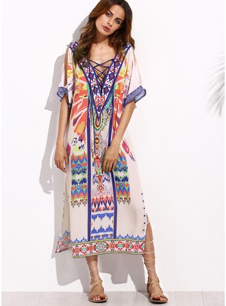 Artificial Fiber With Print Midi Dress