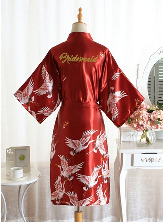 Non-personalized Polyester Bridesmaid Floral Robes Glitter Print Robes