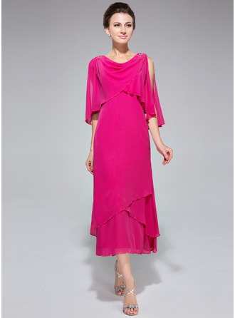 Cowl Neck Tea-Length Chiffon Mother of the Bride Dress With Beading Sequins Cascading Ruffles