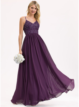 V-neck Floor-Length Chiffon Lace Prom Dresses With Beading Sequins